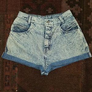 vtg 90s acid wash denim cutoff jeans shorts 26